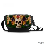 Vintage Skull Messenger Bag Green